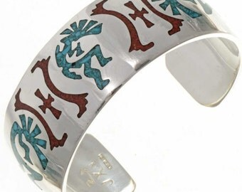 Bangles silver turquoise/coral KOKOPELLI