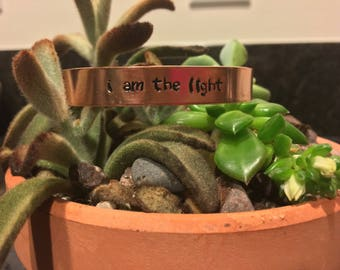 I Am The Light Hand-Stamped Copper Bracelet