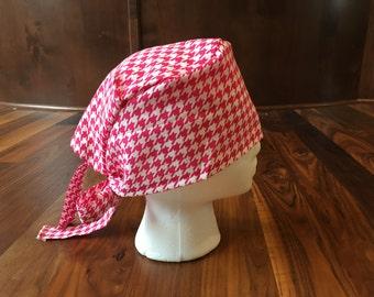 Pink Houndstooth Print Scrub Hat