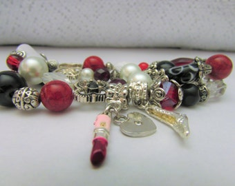 Silver, Red, Pink, and Black Charm Bracelet, Stretch Beaded Bracelet with Lipstick, Heart Locket, and High Heel Charm, Faux Pearl Jewelry
