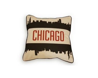 Chicago Skyline With No Stars Pillow Case With Piping