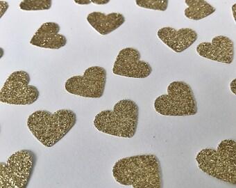 Heart Confetti, Wedding Confetti, Bridal Shower Confetti, Gold Glitter Confetti, Paper Hearts, Tiny Heart Confetti, Invitation Confetti