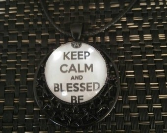 Keep calm and blessed be necklace pendant with small pentagram
