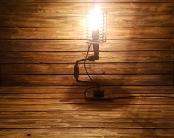 Old drill lamp - lighting, vintage, lights, industrial, steampunk, unique, recycling, loft, upcycling