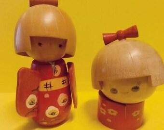 Vintage Wooden Japanese Dolls