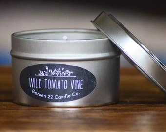 Soy Wax Candle, Wild Tomato Vine, 6 oz. Candle Tin, Scented Soy Candle, Natural Candle, Tomato Leaf Candle, Handmade Soy Candle,