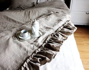 Linen Duvet cover- 14 colors - Ruffled Linen Duvet Cover-Washed linen-Soft Linen bedding- Bedroom linen-Available sizes #Summer Waves#