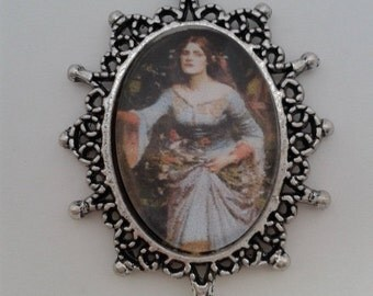 Pre Raphaelite lady in cabochon Victorian Style Pendant