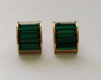 S.A.L. (Swarvoski) Emerald Rhinestone Clip-On Earrings - Vintage