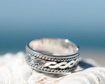 Toe Ring ~ Midi ~ Sterling Silver 925 ~ Braided ~ Handmade ~ Adjustable ~ Boho ~ Bohemian ~ Hippie ~ Jewelry ~ Ocean ~ Gift for Her ~MR034