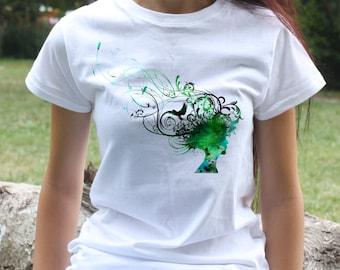 Woman Hair T-shirt - Cool Tee - Fashion women's apparel - Colorful printed tee - Gift Idea