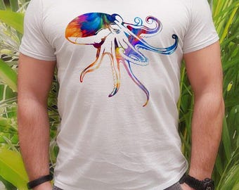 Octopus tee - Ocean t-shirt - Fashion men's apparel - Colorful printed tee - Gift Idea