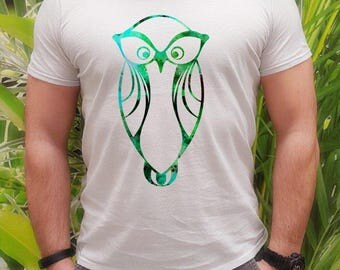 Bird t-shirt - Owl tee - Fashion men's apparel - Colorful printed tee - Gift Idea