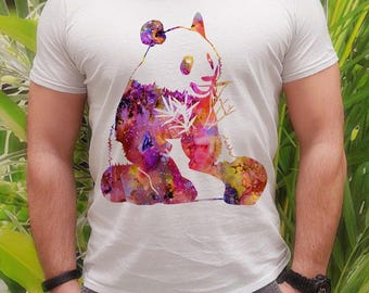 Panda t-shirt - Panda tee - Fashion men's apparel - Colorful printed tee - Gift Idea