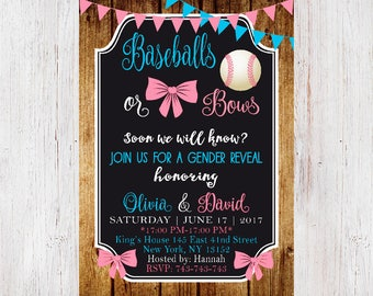 Baseballs or Bows Gender Reveal Party Invitation, Gender Reveal Invitation,Gender Reveal Party, Boy or Girl, Rustic,Chalkboard 201