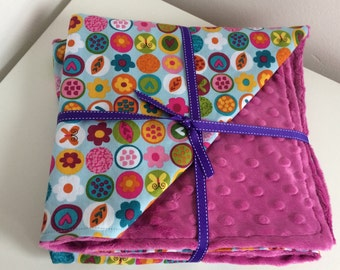 Baby blanket minky and cotton spring flowers