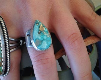 Whitewater turquoise ring with stamped band, size 6 3/4