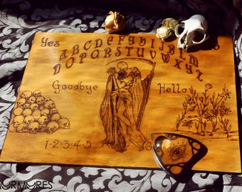 Wooden Ouija Board spiritual talking board wood hand-sculpted with skulls reaper and woman