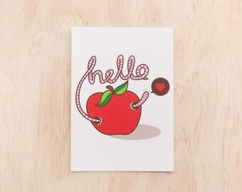 Hello Little Worm Postcard