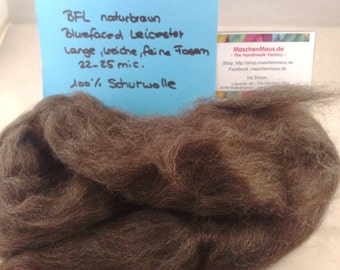 BFL Bluefaced Leicester naturals: brown brown combed tops fiber spinning lining 100 g