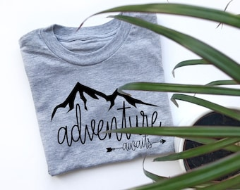 Boy Toddler Clothes | Adventure Awaits t-shirt | kids tshirt | t shirt | outdoors | mountains | nature | climber | climb | explore