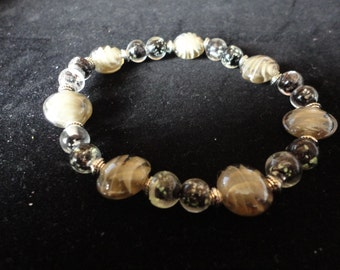 Shades Of Grey Lampwork Stretch Bracelet - B63