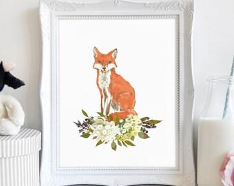 Fox Animal Wall Art, Fox Wall Art Print, Printable Fox Art, Forest Animal, Wall Art, Above Bed Art, Printable Art, Kids Wall Art, Home Decor