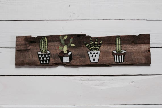 Painted Cacti Wall Hanging