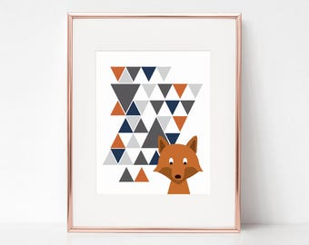 Fox Print, 11x14 Digital Download Prints, Wall Art, Boy Nursery, Fox Nursery, Playroom, Arbor Grace Collections