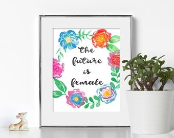 Feminist Art Print Digital Download Feminism Wall Prints Bright Colors Wall Art Cubicle Decor Motivational Wall Decor Printable Art Poster