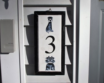 Dumpster Dawgs, street address numbers, tile address, house numbers, tile house number, dog, house address plaque, tile numbers, custom tile