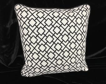 Black geometric designer fabric