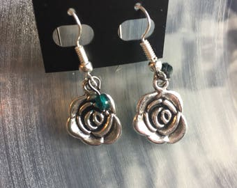 Silver and Green Rose Earrings