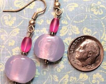 Hot pink, light plum glass bead earring
