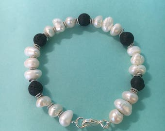 Freshwater pearl and lava stone diffuser bracelet