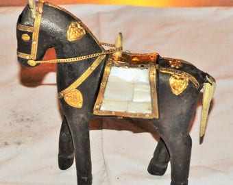 horse carved exotic wood