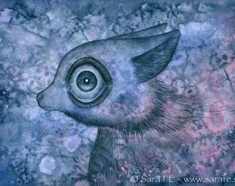 Holmfrid - ORIGINAL watercolour painting - big eyed animal - pop surrealism