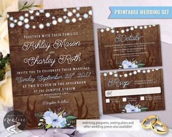 PRINTABLE Personalized Barnboard Floral Antler Wedding Invitation Set RSVP, Rustic Farmhouse, Blue Flowers Wood Lights Antlers, Digital File