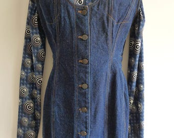 Junior Gaultier dark blue denim mini dress/ sleeveless jacket