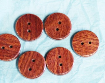 6 buttons made by hand/6 buttons in exotic wood 3 cm