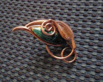 matisse renoir copper and enamel 1950s brooch