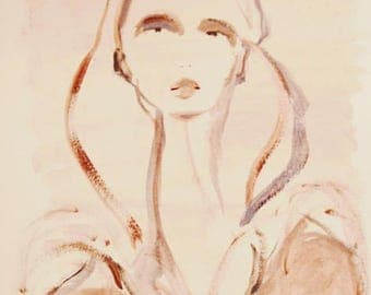 Fashion illustration - Girl in beige