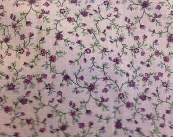 Quilting calico, lavender background with tiny purple flowers, winding throughout. 2 and 2/3 yards