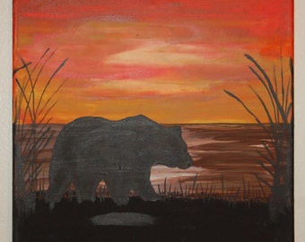 Three 12x12 Wildlife Sunset Silhouette Acrylic Canvas Paintings