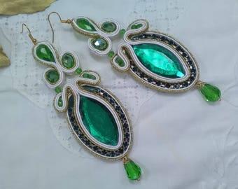 Flamenco earrings. Earrings Gift. Guest earrings. Soutache earrings,. Long earrings. Valentine's Day gift.