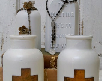 Set of 4 Decorative Bottles with Crosses and Rosary