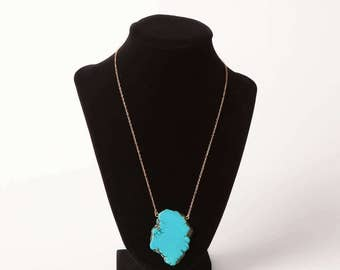 Fat Turquoise Stone Necklace on 14K gold fill chain