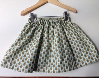 Skirt girl in cotton print pineapple
