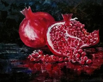 Pomegranates. 60x80 cm Oil painting on cardboard. Covered with varnish