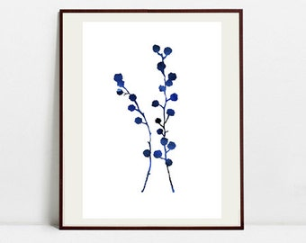 Flower Brunch Art Botanical Print, Watercolor Painting, Flower Blue Illustration, Digital Download Art Print